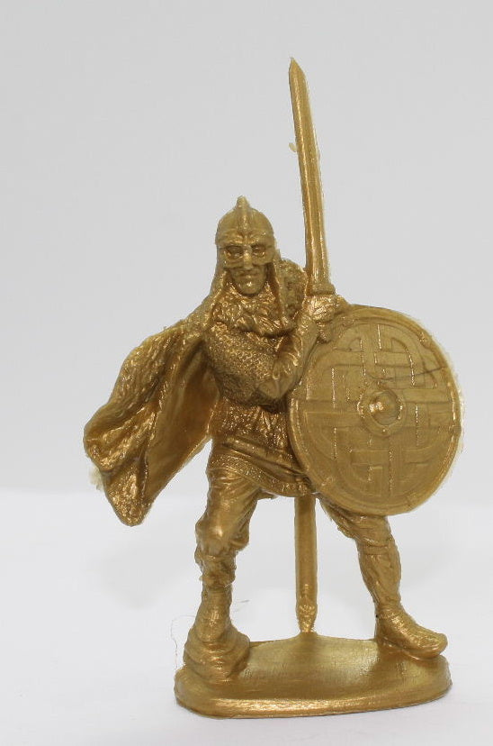 Viking with Sword. Gold Plastic - Russian Made.