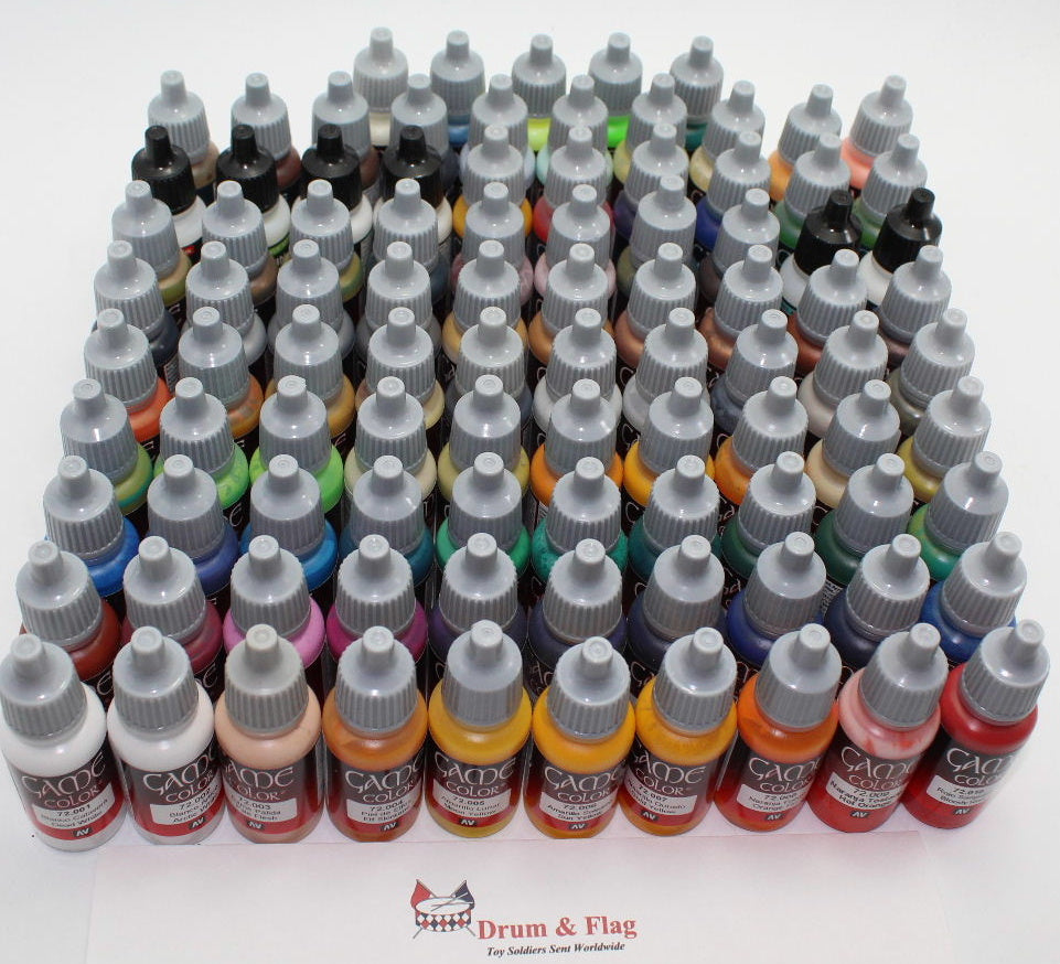 VALLEJO GAME COLOR PAINT - CHOOSE FROM THE 95 BOTTLE CORE RANGE - WATER BASED ACRYLIC 17ml POTS