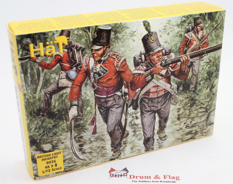 BRITISH LIGHT INFANTRY. HAT 8036. NAPOLEONIC WARS. 1/72 SCALE PLASTIC
