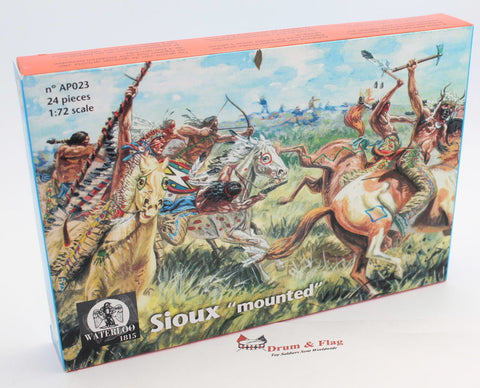 WATERLOO 1815 AP023 MOUNTED SIOUX PLAINS INDIANS. 1/72 SCALE X 12 FIGURES
