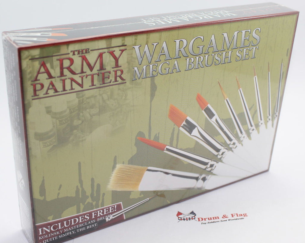 The ARMY PAINTER WARGAMES MEGA BRUSH SET. 10 different brushes included in pack.