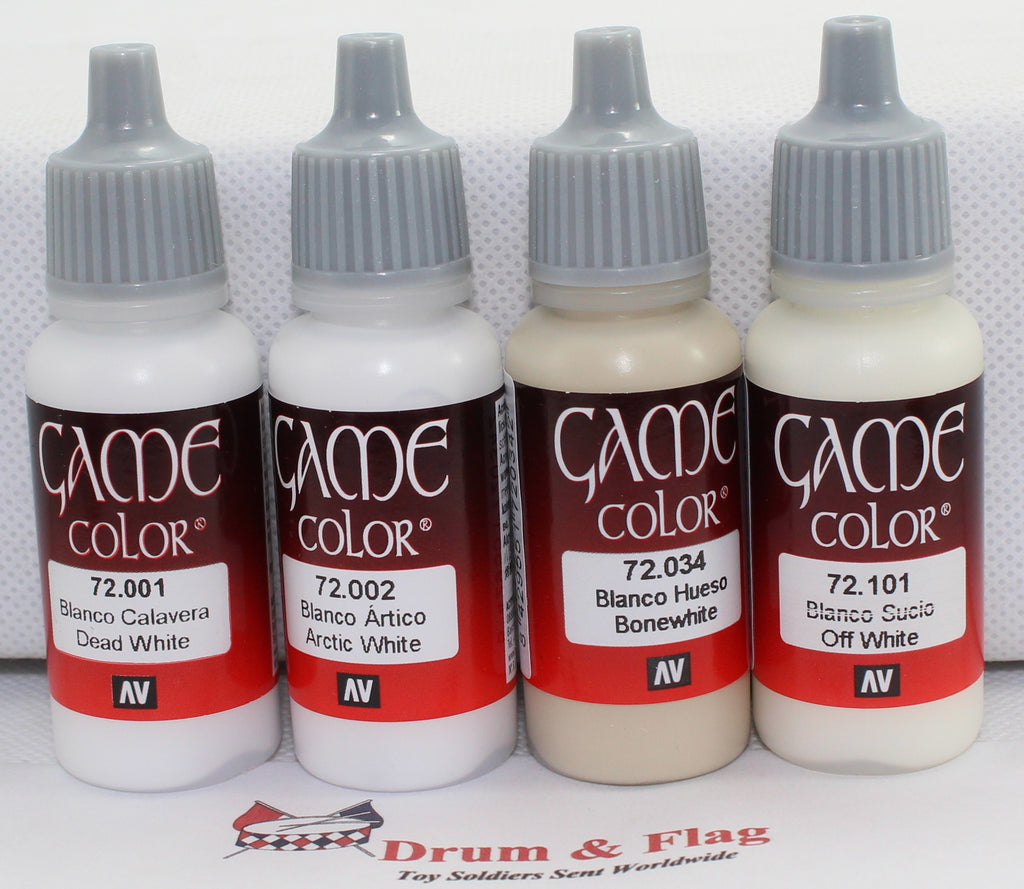 VALLEJO GAME COLOR PAINT - WHITE TONES / THE WHITES - 4 x 17ml bottles. DF01