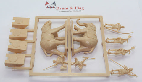 SINGLE SPRUE OF HAT 8023 WAR ELEPHANTS 1/72 SCALE UNPAINTED PLASTIC 6 ELEPHANTS & 18 CREW