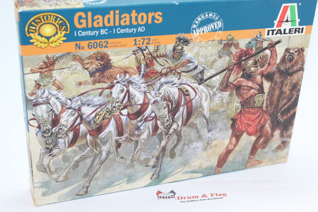 ITALERI 6062 - GLADIATORS. 1/72 SCALE  GLADIATOR SET. BEAR & LIONS. CHARIOT ETC.