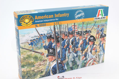 ITALERI 6060. AWI AMERICAN INFANTRY X 48 FIGS 1:72 REVOLUTIONARY WAR CONTINENTALS