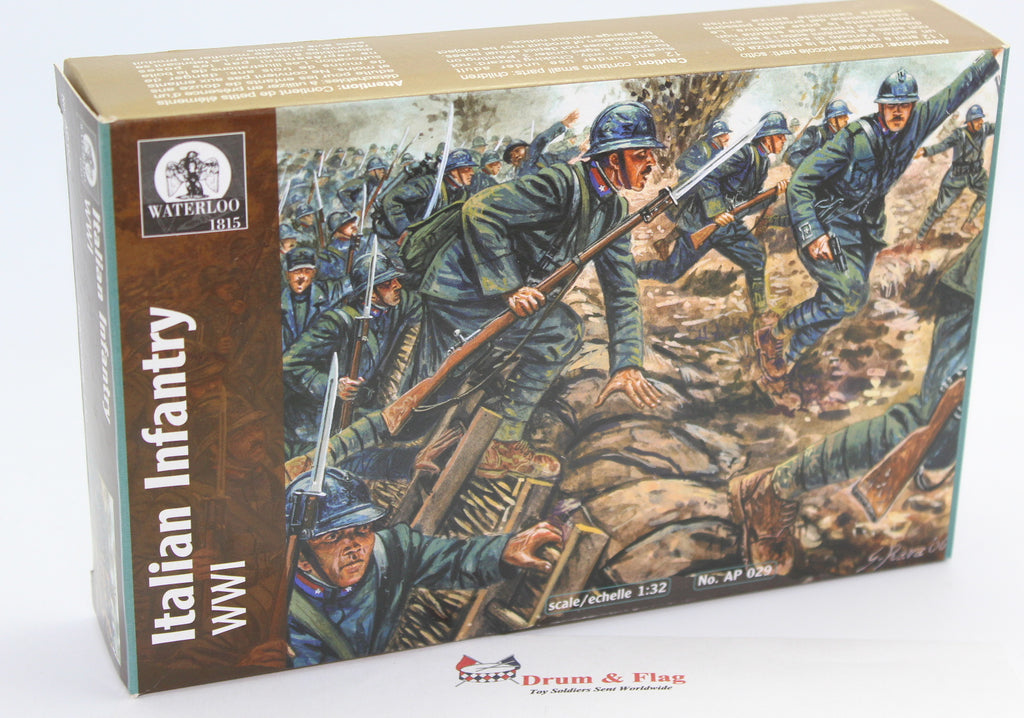 WATERLOO 1815 AP029: WW1 ITALIAN INFANTRY. 1/32 SCALE 54MM FIGURES. WWI ITALIANS