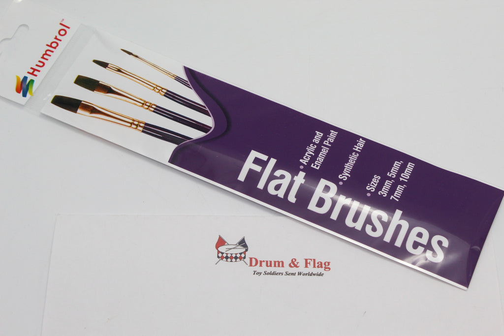 HUMBROL SYNTHENTIC FLAT BRUSHES. SIZES 3mm/5mm/7mm/10mm - 4 BRUSH PACK