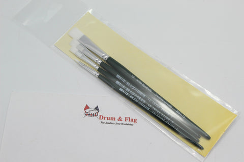 Creative Models Synthetic Flat Brush Set . Mixed Size 4 Pack. Sizes 2/6/8/12.