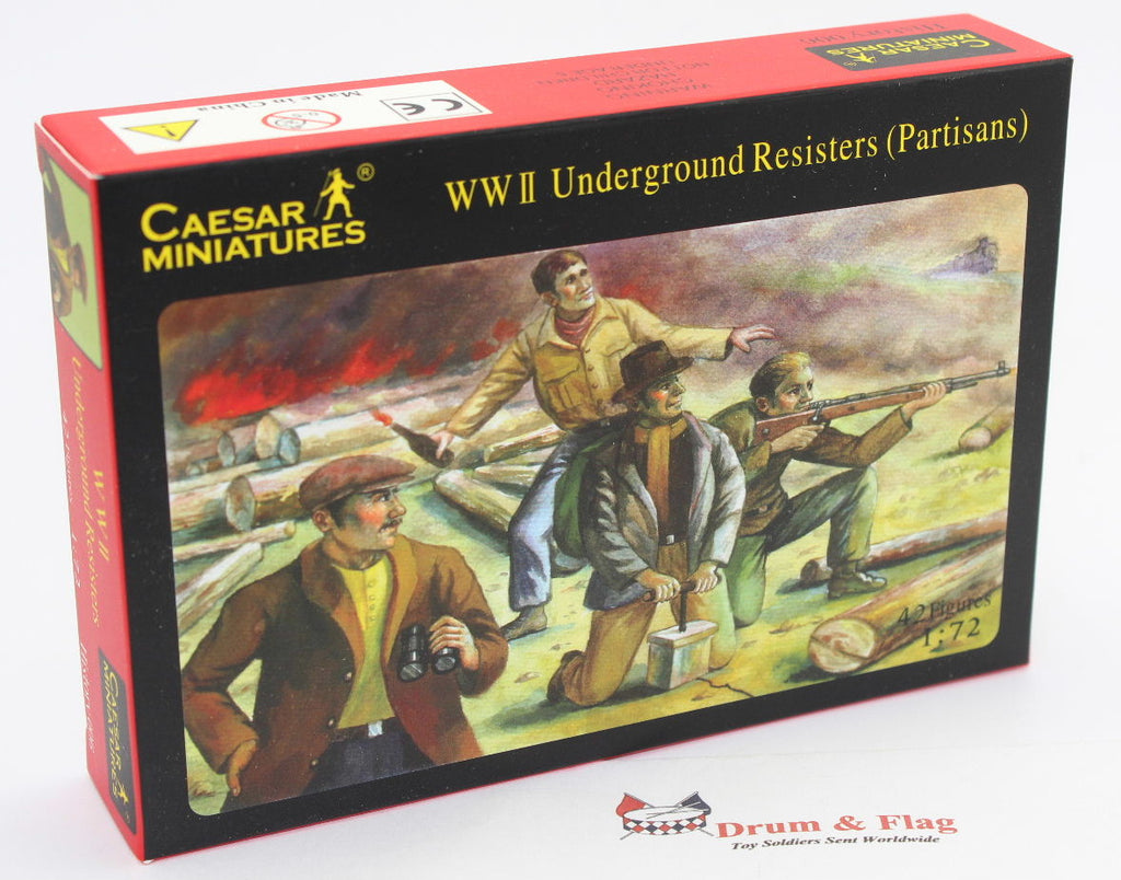 CAESAR #6 WW2 UNDERGROUND RESISTERS. RESISTANCE. 1/72 Scale Plastic Figures x 42