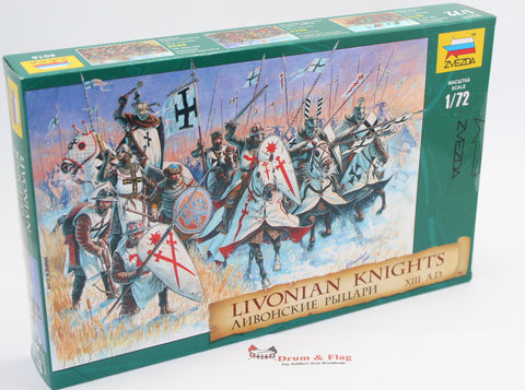 ZVEZDA 8016 LIVONIAN KNIGHTS - 1:72 SCALE UNPAINTED PLASTIC FIGURES X 35
