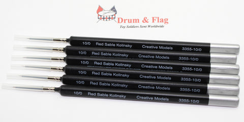 Creative Models Kolinsky Red Sable Brush Set. Size 10/0 x 6. Fine Detail. Triangular Handle.