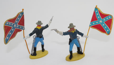 Britains Herald US 7th Cavalry Figure with Confederate Flag x 2 - 54mm - 1/32 scale