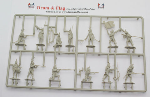 Single Sprue of WATERLOO 1815 AP041 NAPOLEONIC FRENCH FOOT DRAGOONS. 1/72 SCALE. 13 FIGURES.