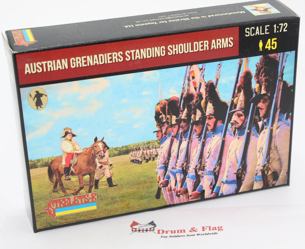 Strelets 204 Napoleonic Austrian Grenadiers Standing Shoulder Arms. 1/72 Scale
