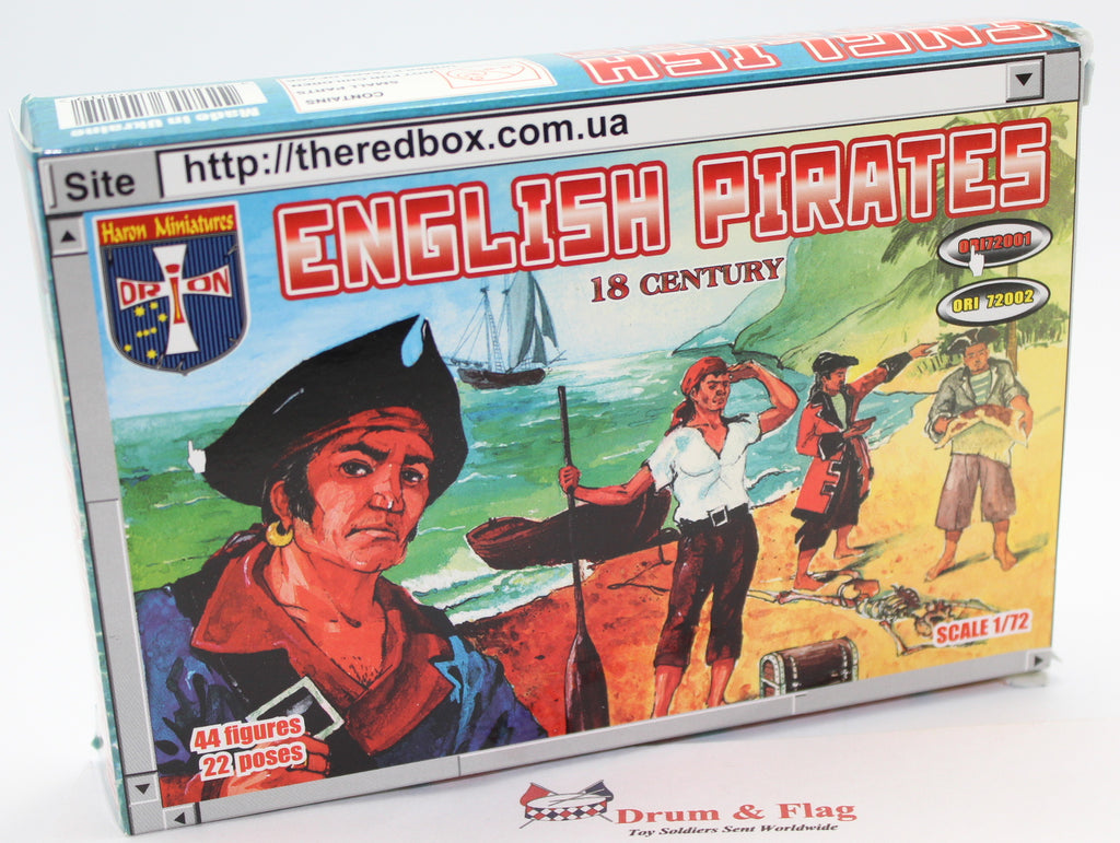 ORION 72001 - ENGLISH PIRATES 18th CENTURY. 1/72 SCALE UNPAINTED PLASTIC