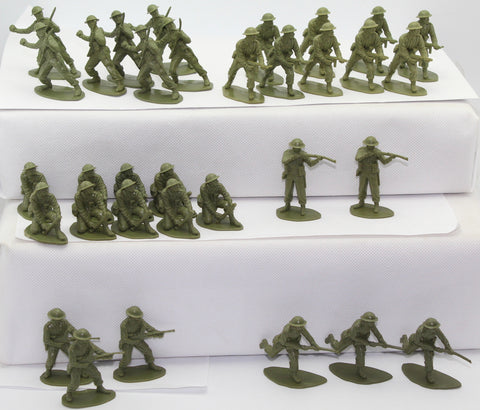 AIRFIX WW2 BRITISH INFANTRY x 33 FIGURES. 1/32 SCALE. NO BOX. NO OFFICER