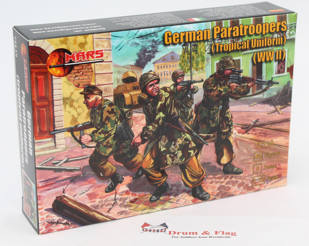 Mars 72119. German Paratroopers (Tropical Uniform). WWII. Plastic 1/72 Scale Figures. Fallschirmjager