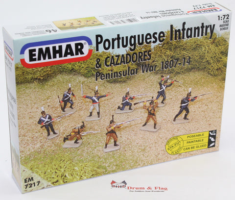 PARTIAL SET OF EMHAR 7217 PORTUGUESE INFANTRY & CAZADORES - PENINSULAR WAR. 1:72 Scale Plastic. USED