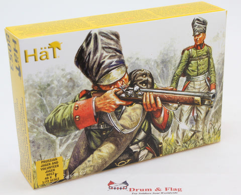 PRUSSIAN JAGER & VOLUNTEER JAGER. HAT 8053. NAPOLEONIC WARS. 1/72 SCALE PLASTIC
