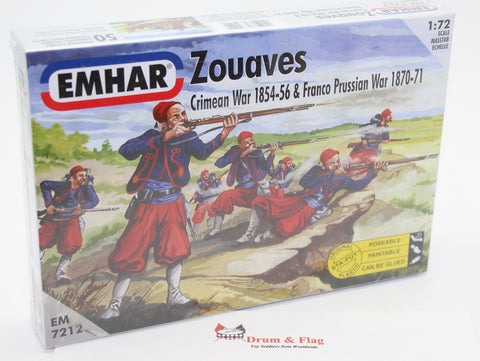 EMHAR 7212 FRENCH ZOUAVES. FRANCO-PRUSSIAN WAR. CRIMEAN WAR. ACW 1:72 SCALE
