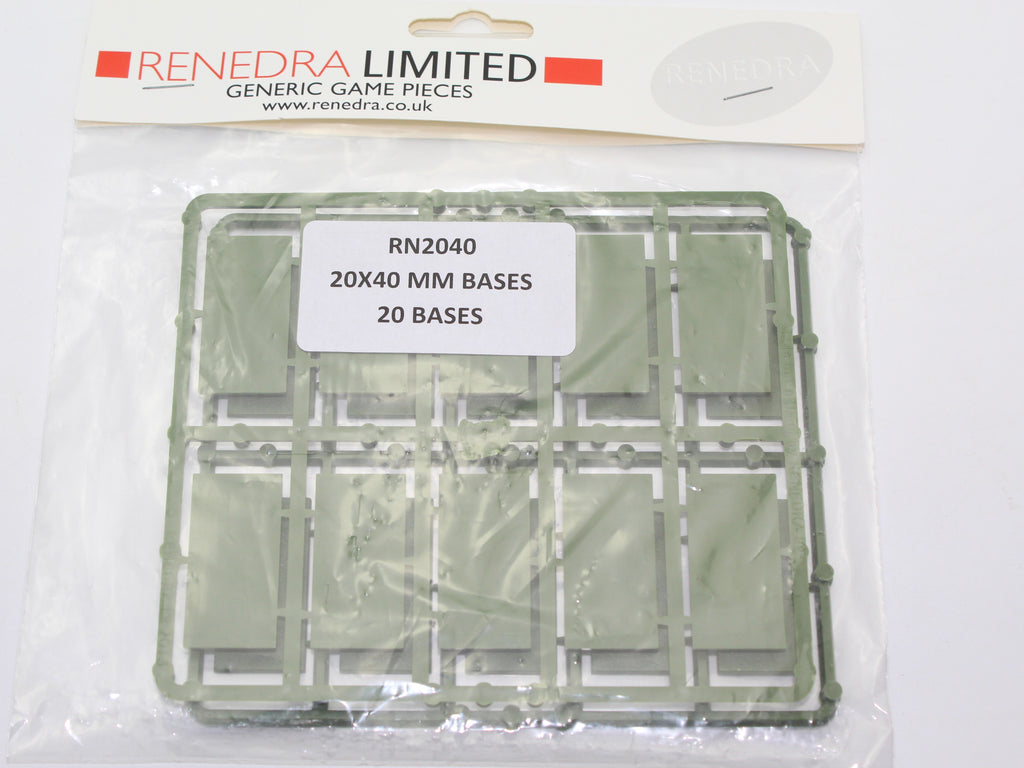 Renedra RN2040 - 20mm x 40mm Bases. 20 Bases in pack. Hard Plastic. Green