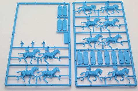 12 Horses from Italeri 6052 - British Hussars. Crimean War 1854 & Napoleonic. 1/72 scale. USED