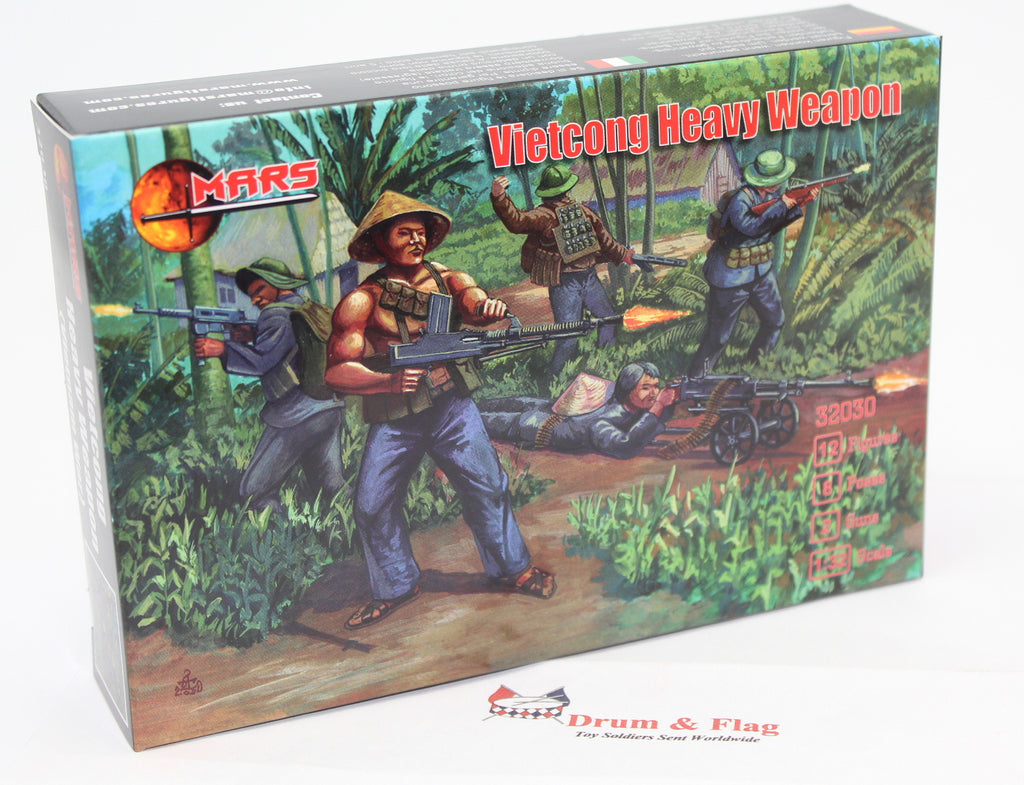 MARS 32030 VIETCONG HEAVY WEAPONS TEAM. VIETNAM WAR - 1/32 SCALE UNPAINTED PLASTIC FIGURES