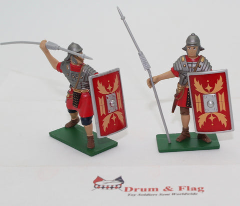 Elite Command / Blue Box - Romans x 2. With Pilum. Factory painted metal. 1/32 scale.