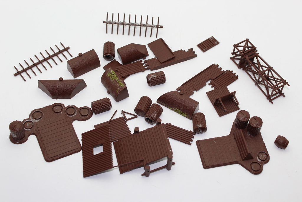 Pieces from Italeri Battlefield Accessories set #6030. 1/72. USED