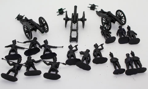 USED ARMIES IN PLASTIC - FRENCH ARTILLERY SETS x 3 - NAPOLEONIC WARS - 1/32 SCALE.