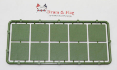 Renedra - 25mm x 25mm Bases Sprue. 28mm Hard Plastic. Green. 10 bases in total.