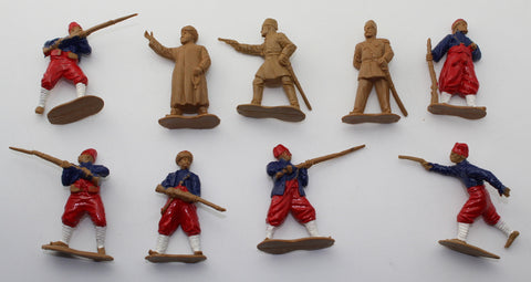 ENGINEER BASEVICH - OTTOMAN INFANTRY 1850-1914. TURKISH ZOUAVES. 9 FIGURES. TURKS.