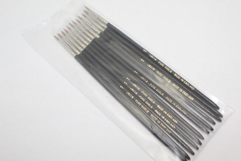 Javis Pure Sable Paint Brushes 12 x size 1. Twelve brush pack.