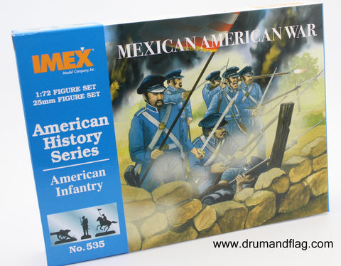 IMEX 535. AMERICAN INFANTRY. MEXICAN-AMERICAN WAR 1846-1848. 1:72 SCALE. PLASTIC FIGURES