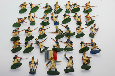 A Call to Arms - Painted French Infantry 1815. 93rd Line Voltigeurs. 1/32 Scale Plastic Napoleonics. Used. (BT7)