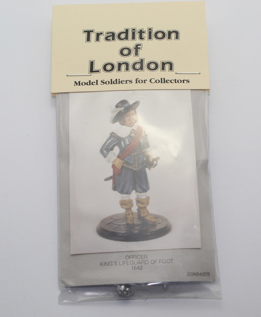 TRADITION OF LONDON - OFFICER KING'S LIFEGUARD OF FOOT 1642 - METAL CASTING. ECW 54mm