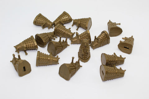 Daleks. Gold Coloured Plastic. c35mm tall. Used Lot. DF69