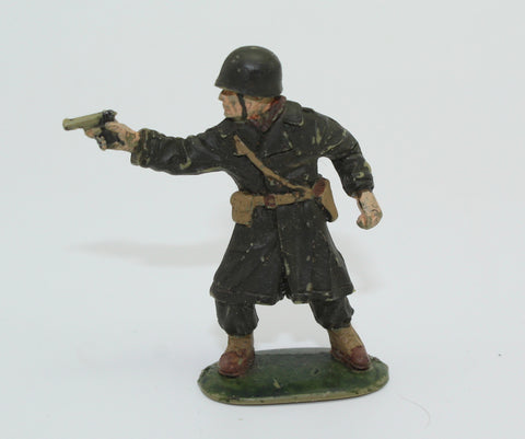 Matchbox. WW2 US Infantry Officer in Greatcoat. Painted. No Box. 1/32 Scale. Used Lot. DF74