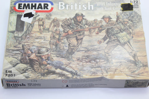 Used. Emhar 7201. WW1 British Infantry & Tank Crew. 1/72 Scale. (KJ27)