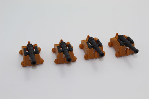 USED - NAVAL GUNS x 4. PIRATE BATTLE GAME PIECES - WEAPONS & WARRIORS BY PRESSMAN. (KJ64)