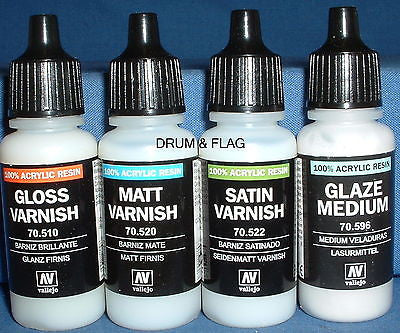 VALLEJO VARNISH SET. VARNISHES - 4 x 17ml bottles. DF25