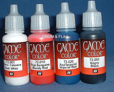 VALLEJO GAME COLOR PAINT - NAPOLEONIC WARS SET #1 - 4 x 17ml bottles. DF51