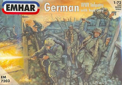 EMHAR 7203 GERMAN WW1 INFANTRY & TANK CREW 1/72 SCALE UNPAINTED PLASTIC FIGURES