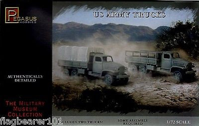 PEGASUS 7651. US ARMY TRUCKS. WW2. USA. 1/72 SCALE. SET INCLUDES 2 X TRUCK