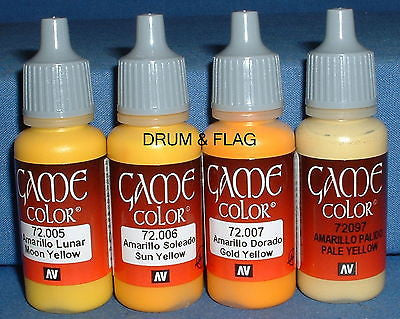 VALLEJO GAME COLOR PAINT - YELLOW TONES / THE YELLOWS - 4 x 17ml bottles. DF05