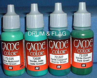 VALLEJO GAME COLOR PAINT - GREEN TONES / THE GREENS A - 4 x 17ml bottles. DF10