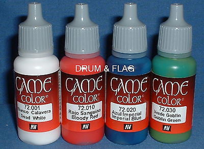 VALLEJO GAME COLOR PAINT - ZULU WAR BRITISH - 4 x 17ml bottles. DF45