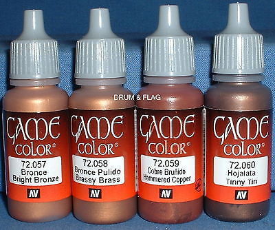 VALLEJO GAME COLOR PAINT - METALLICS / METALLIC COMBO C - 4 x 17ml bottles. DF22