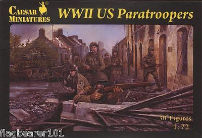 CAESAR 76 WWII US PARATROOPERS. 1/72 Scale Plastic Figures X 30. WW2 AMERICANS
