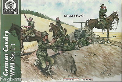 WATERLOO 1815 AP025 WW2 GERMAN CAVALRY SET #1. 1/72 SCALE X 12 FIGURES. 6 POSES.
